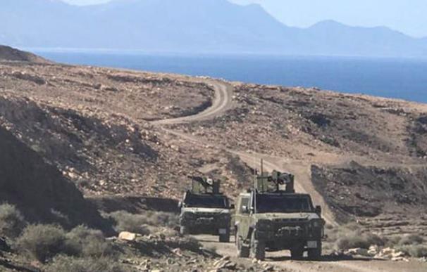 Vehículos militares que participan en los ejercicios militares. Foto: Mando de Canarias del Ejército de Tierra