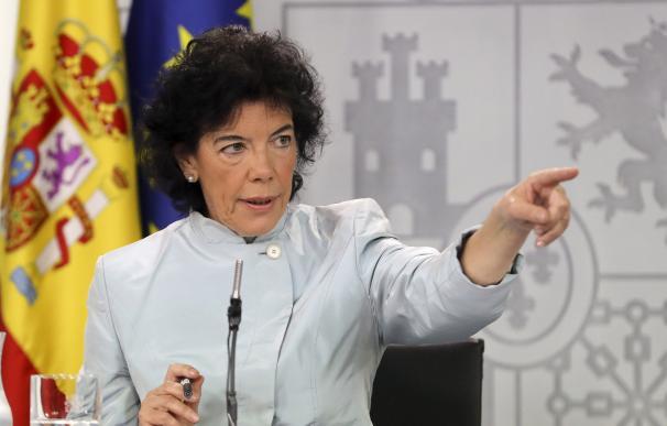 Isabel Celaá durante la rueda de prensa posterior al primer Consejo de Ministros
