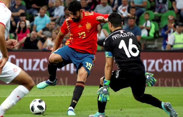 Diego Costa durante el último amistoso contra Túnez./ EFE