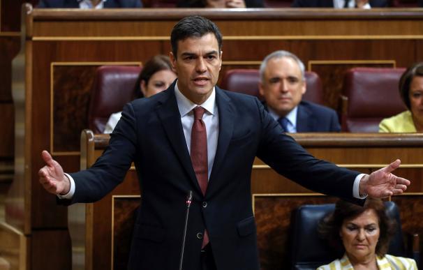 Pedro Sánchez durante la primera sesión de control al Gobierno