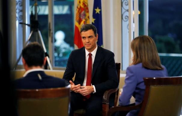 Fotografía Pedro Sánchez en la entrevista en TVE