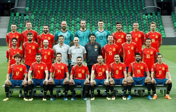 Fotografía oficial de la Selección Española de Fútbol en Rusia, antes del entrenamiento que ha desarrollado el equipo de Fernando Hierro en el FC Krasnodar Stadium