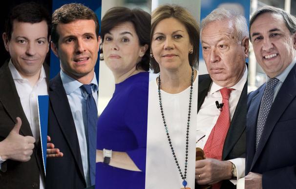 Los seis candidatos a presidir el PP.