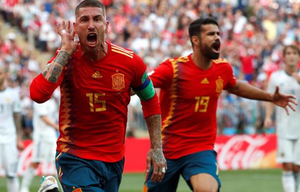 Ramos celebra el gol, que finalmente fue en propia puerta de Rusia