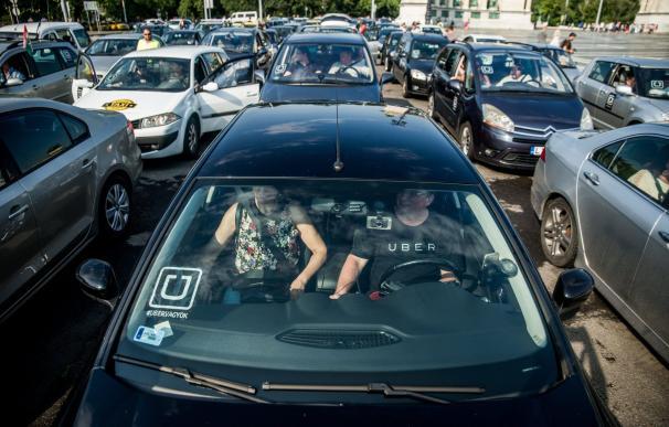 Marcha de conductores de Uber, en EEUU. EFE/archivo