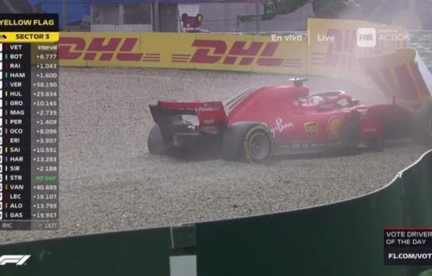Así acabó el Ferrari de Vettel en la vuelta 52 por culpa del agua