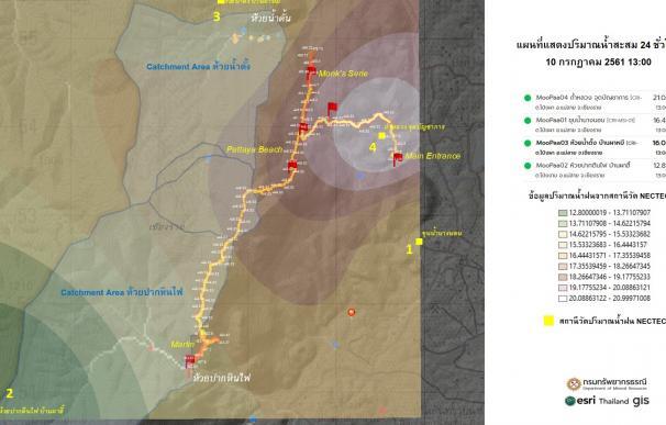 Mapa utilizado para el rescate de los niños tailandeses