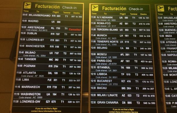 Vuelos cancelados en Barajas por la huelga de Ryanair