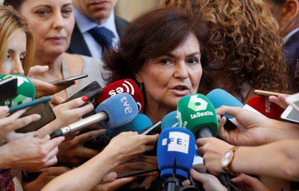 Carmen Calvo en declaraciones en el Congreso.