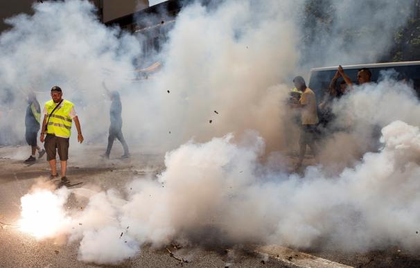 Imagen de la huelga de taxis en Barcelona.