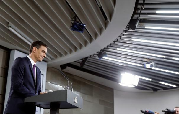 Pedro Sánchez durante la última rueda de prensa.
