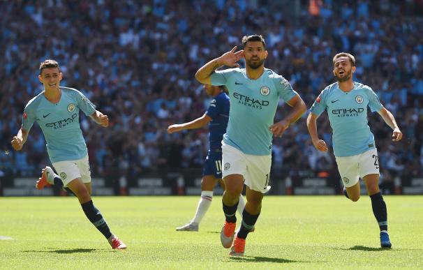 Agüero celebra uno de los goles ante el Chelsea.