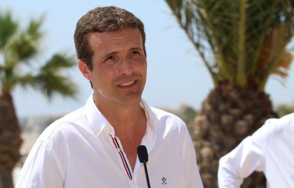 Pablo Casado, este jueves en un acto en Roquetas de Mar (Almería)