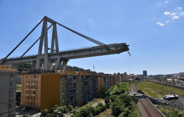 Fotografía del puente Morandi en Génova.