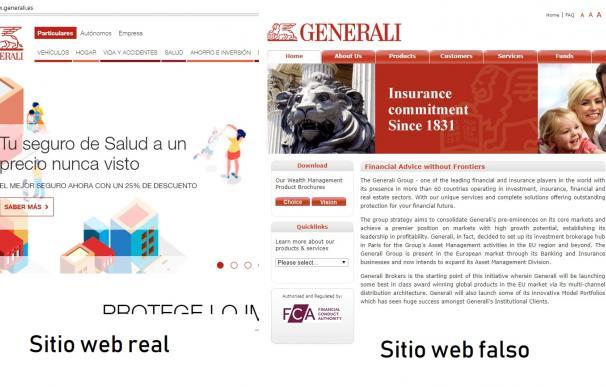 Imagen de la página oficial de Generali y la supuesta suplantación