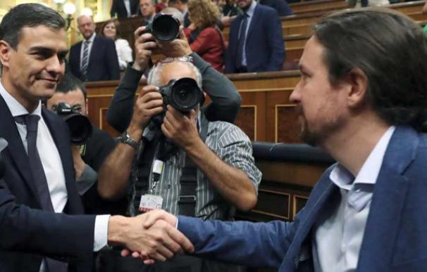 Fotografía Pedro Sánchez con Pablo Iglesias