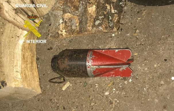 Granada de mortero destruida por los artificieros.