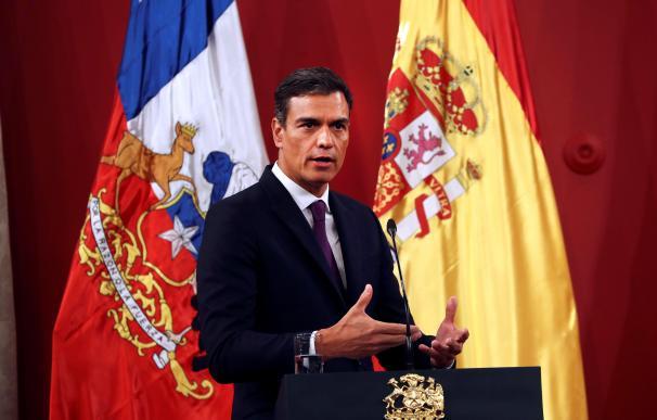 Pedro Sánchez, durante su visita a Chile.