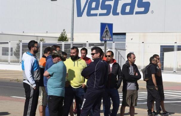 Trabajadores de Vestas en una concentración en Villadangos del Páramo (León).