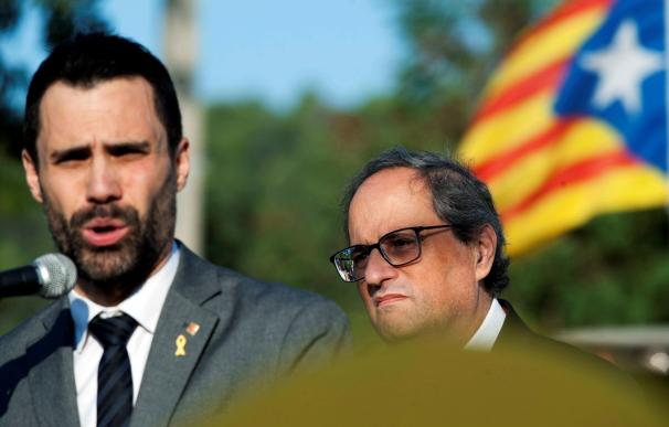 El president de la Generalitat, Quim Torra, sus consellers y el presidente del Parlament, Roger Torrent