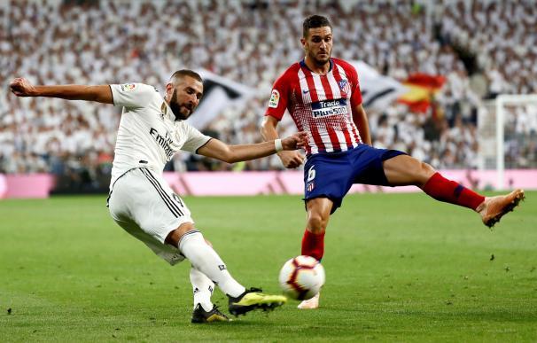Imagen del partido entre el Real Madrid y el Atlético.