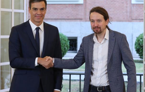Pedro Sánchez y Pablo Iglesias han firmado en la Moncloa el acuerdo sobre la ley de presupuestos