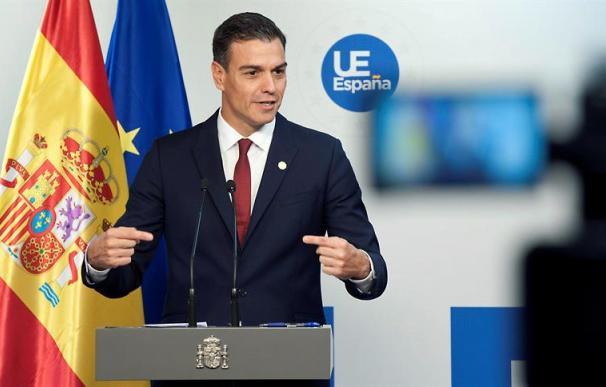 Fotografía de Pedro Sánchez durante la rueda de prensa tras la reunión en la Comisión Europea