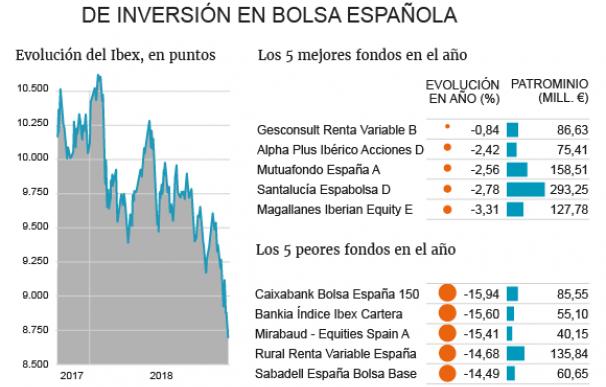Evolución de los fondos de bolsa española