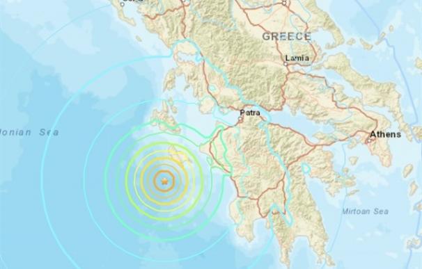 Epicentro del terremoto en el oeste de Grecia