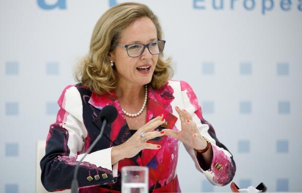 La ministra de Economía, Nadia Calviño, tras el Ecofin de hoy.