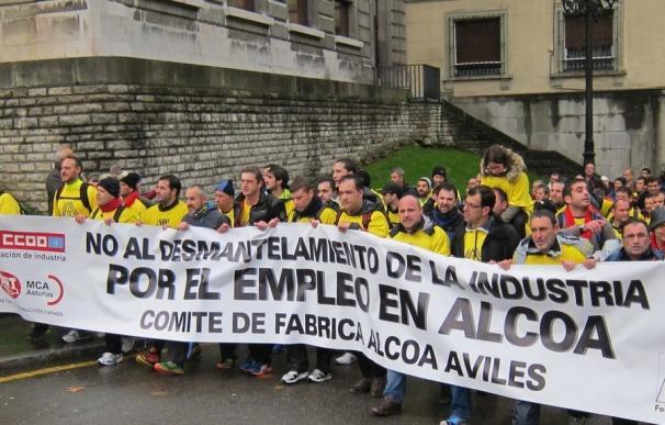 Protesta en Avilés contra el cierre de Alcoa.