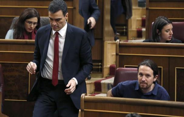 Pedro Sánchez y Pablo Iglesias en el Congreso.