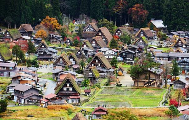 Fotografía de unas casas japonesas.