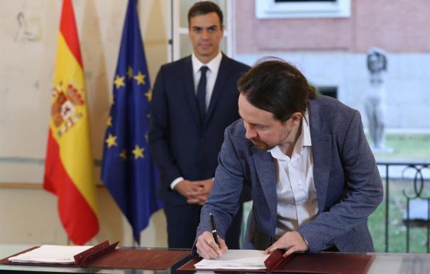 Fotografía Pablo Iglesias presupuestos firma Moncloa Pedro Sánchez