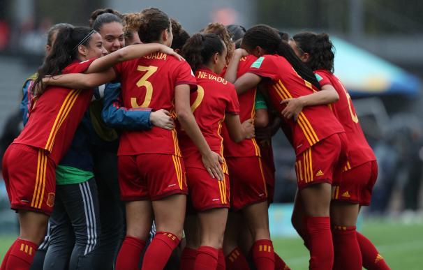 Las jugadoras de España celebran un gol ante Nueva Zelanda.