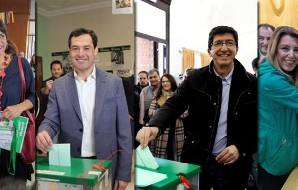Los principales candidatos en Andalucía han depositado ya su voto (Fotos: EFE/EP)