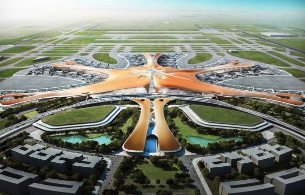 Maqueta de cómo será el aeropuerto de Daxing, en China