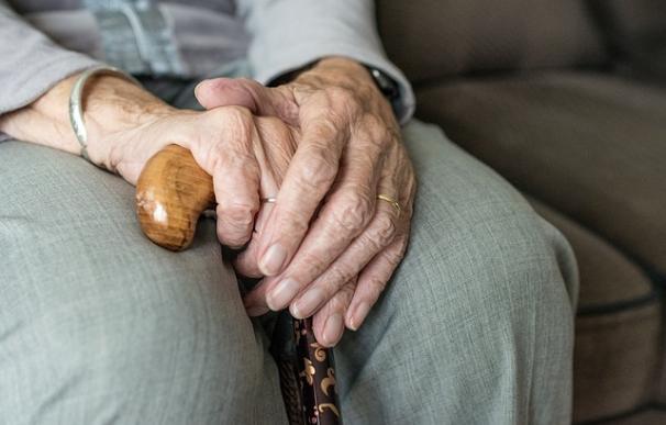 Fotografía de las manos de una anciana.