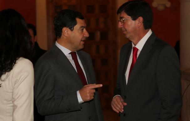 Juanma Moreno (PP-A) y Juan Marín (Cs), en una imagen de archivo.