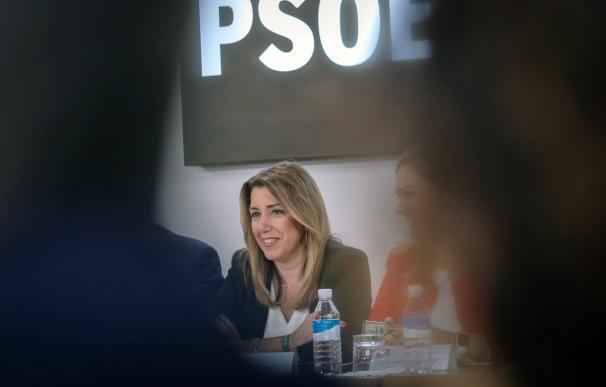 La presidenta andaluza y secretaria general del PSOE-A, Susana Díaz, durante la reunión del Comité Ejecutivo para analizar los resultados electorales. EFE/Julio Muñoz