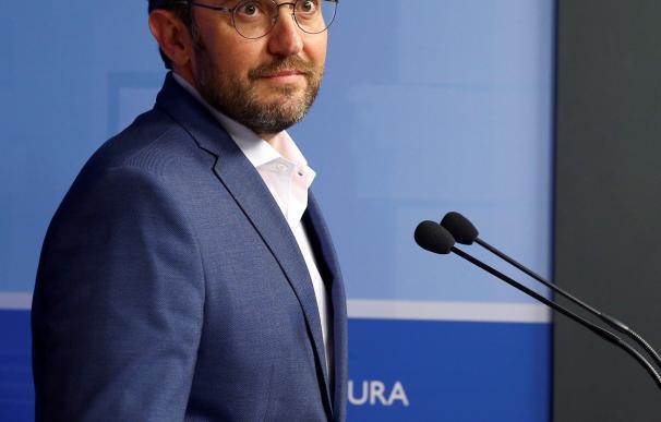 Màxim Huerta durante el anuncio de su dimisión