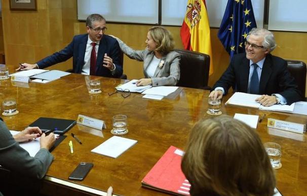 Fotografía Nadia Calviño, Pablo Hernández de Cos y Sebastián Albella / EFE
