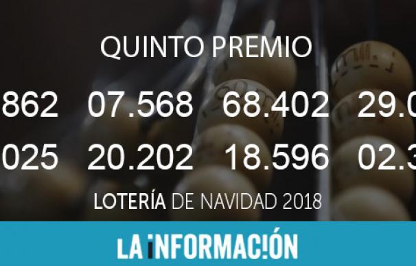 Quintos premios Lotería de Navidad 2018