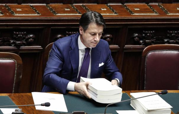 El primer ministro italiano, Giuseppe Conte, durante el debate previo a la votación sobre la ley de presupuesto (EFE/EPA/GIUSEPPE LAMI)