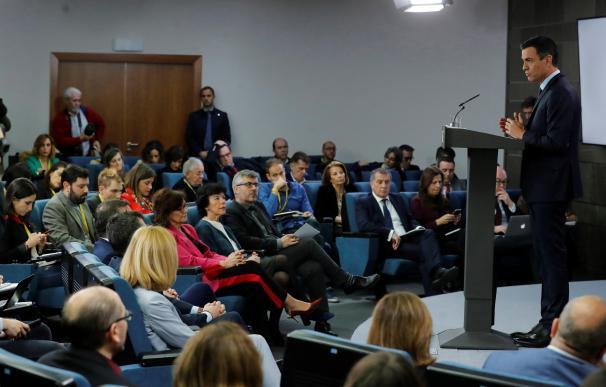 Pedro Sánchez, durante su comparecencia antes los medios en el Palacio de La Moncloa tras el último Consejo de Ministros de 2018