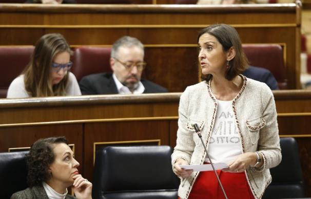 La ministra de Industria, Comercio y Turismo, Reyes Maroto, en el Congreso