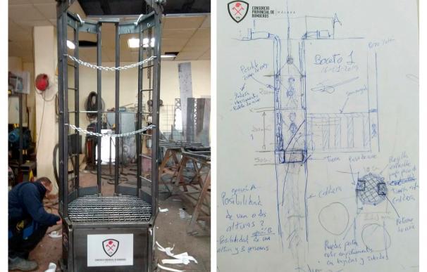 Fotografías facilitadas por el Consorcio Provincial de Bomberos de Málaga de un útil (izq), una especie de cesta de 1,2 metros de diámetro, en la que podrán introducirse dos mineros para intentar el rescate de Julen