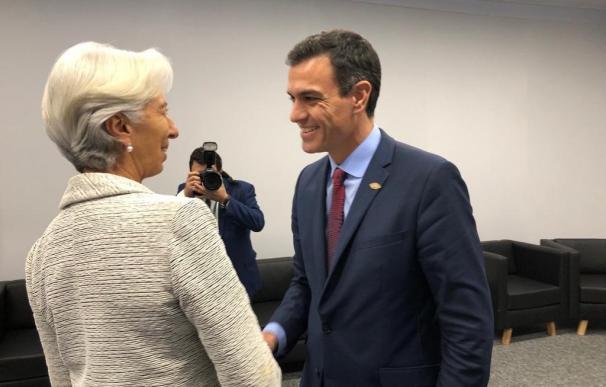 Pedro Sánchez y Christine Lagarde