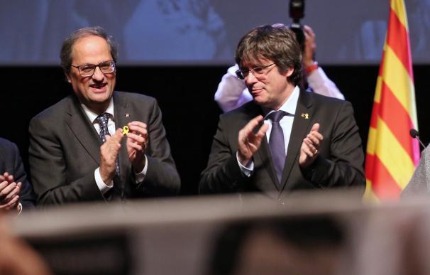 El presidente de la Generalitat, Quim Torra, y el expresidente Carles Puigdemont