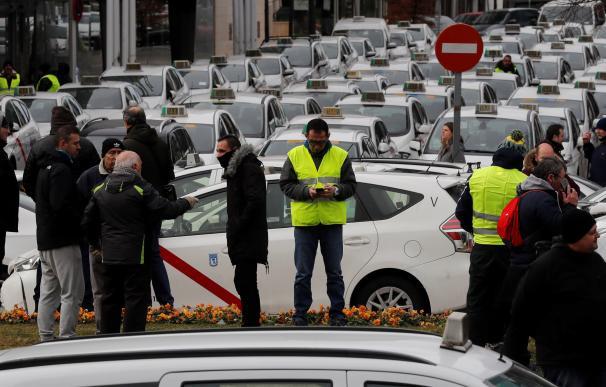 Protesta de los taxistas hoy en Madrid.